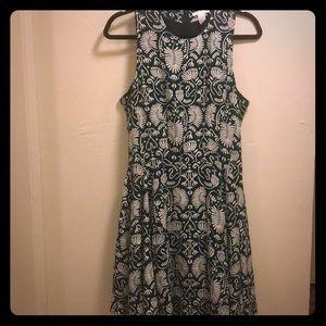 H&M Green & White Print Dress
